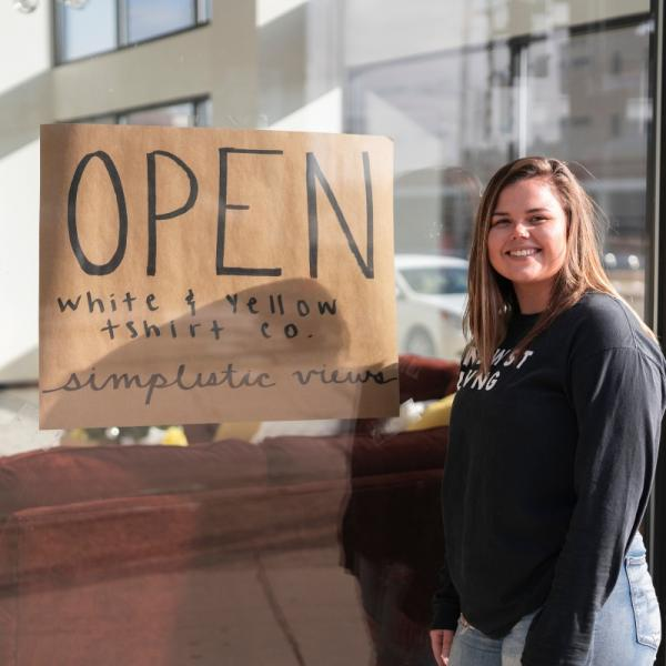 White & Yellow T-shirt Co. and Simplistic Views come together to share a pop-up shop in downtown Waterloo.